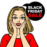 Black friday sale bubble and pop art astonished cute girl Royalty Free Stock Photo