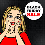 Black friday sale bubble and pop art astonished cute girl Stock Photography