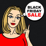 Black friday sale bubble and pop art woman to point the finger. Stock Images