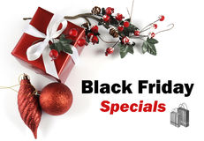 Black Friday Specials sale message greeting with Christmas decorations Royalty Free Stock Images