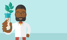 Black guy Chemist with tube and eco leaves Royalty Free Stock Photos