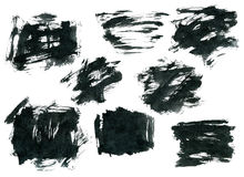 Black ink rectangle shapes isolated on white Stock Images
