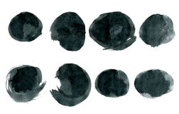 Black ink round shapes isolated on white Royalty Free Stock Photo