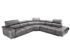 Black leather sofa Stock Photos