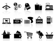 Black retail and shopping icons set Stock Images