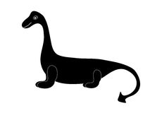 Black silhouette dinosaur dragon tale Stock Photos