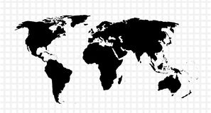 Black vector map of the world Royalty Free Stock Image