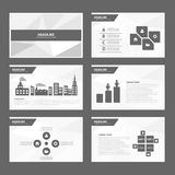 Black white Abstract Brochure report flyer magazine presentation element template a4 size set for advertising marketing website Stock Photo