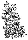 Black-and-white flowers and leaves design element Royalty Free Stock Photos