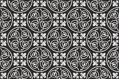 Black-and-white seamless gothic floral pattern Stock Photo