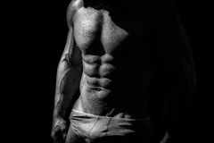 Black and white studio shoot of strong athletic man Royalty Free Stock Photos
