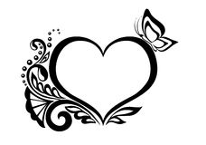 Black-and-white symbol of a heart with floral desi Royalty Free Stock Photo