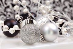 Black And White Trendy Christmas Ornaments Royalty Free Stock Photo