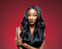 Black woman with long luxurious shiny hair Stock Image