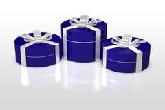 Blaue runde Geschenkbox mit weißem Band Lizenzfreies Stockfoto