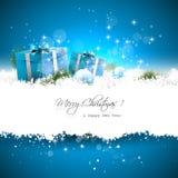 Blaue Weihnachtsgrußkarte Stockfotografie