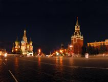 Blessed Vasily's temple and Kremlin in Moscow. Stock Photos