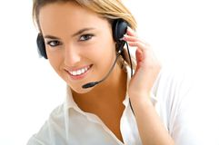 Blond girl in call center Royalty Free Stock Photo