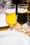 Blonde beer, dark beer Royalty Free Stock Photography