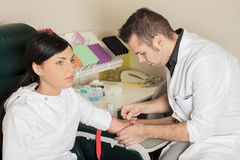 Blood test in a laboratory Stock Image