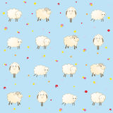 Blue baby wallpaper with sheep Royalty Free Stock Image