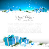 Blue Christmas greeting card Stock Photos