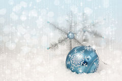 Blue Christmas Ornament Snowflakes Royalty Free Stock Photography