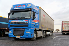 Blue Daf XF Super Long Haulage Truck Stock Photography