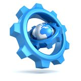 Blue earth globe with big gears around Royalty Free Stock Photography