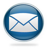Blue email icon button Stock Photos
