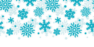 Blue Frost Snowflakes Horizontal Seamless Pattern Royalty Free Stock Photo