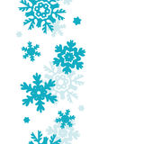 Blue Frost Snowflakes Vertical Seamless Pattern Stock Image