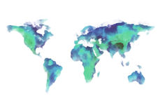 Blue and green world map, watercolor painting Stock Photo