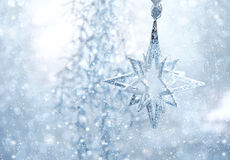 Blue shiny star. christmas or new year decoration Stock Photography