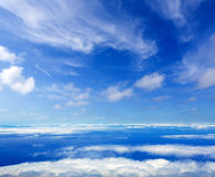 Blue sky sea of clouds from high altitude Stock Image
