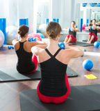 Blue toning ball in women pilates class rear view Royalty Free Stock Photo