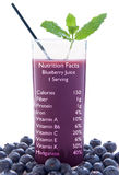 Blueberry juice nutrition facts Stock Photos