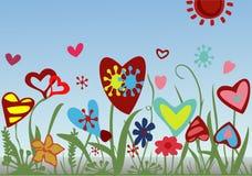 Blumengesteck von den Herzen auf einem blauen Hintergrund Stockfotos