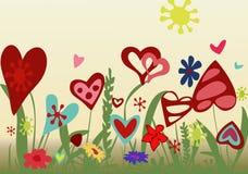 Blumengesteck von den Herzen auf einem gelben Hintergrund Lizenzfreies Stockfoto