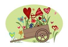 Blumengesteck von den Herzen im Warenkorb Stockfotografie