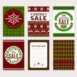 Bożenarodzeniowi sztandary ustawiający - sprzedaż i kartka z pozdrowieniami Fotografia Stock