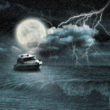 Boat in storm Royalty Free Stock Photos