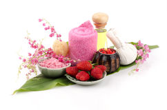 Body Scrub with Strawberry, sea salt and olive oil. (For dry skin) Royalty Free Stock Photos
