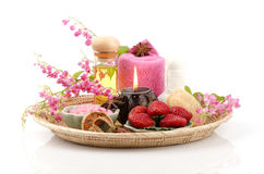 Body Scrub with Strawberry, sea salt and olive oil. (For dry skin) Royalty Free Stock Image