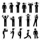 Body Stretching Exercise Stick Figure Pictogram Ic Stock Photography