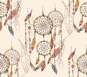 Bohemian dream catcher with beads and feathers, seamless pattern Stock Photography