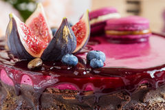 Bolo de chocolate decorado Foto de Stock Royalty Free