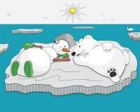 Bonhomme de neige et ours bronzages sur la banquise Photographie stock libre de droits