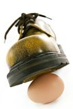 Boot crushing an egg Stock Images
