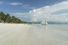 Boracay island white beach sail boat philippines Royalty Free Stock Images